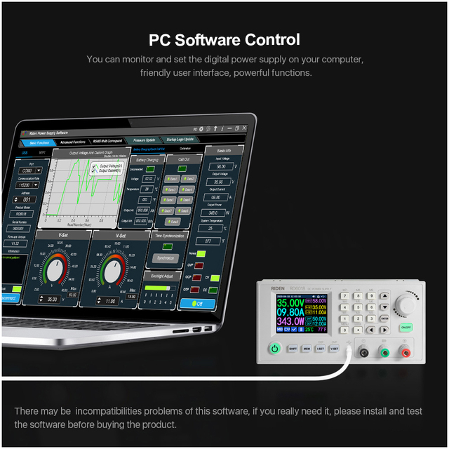 Direct-current Voltmeter RD6018 18A Constant-Voltage & Constant-Current Power-Supply Module Keypad PC Software Control Voltmeter