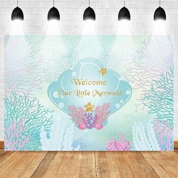 Fondo de La Sirenita de Mehofoto para sesión fotográfica fiesta de cumpleaños póster de fondo para niñas carcasa del mundo submarino