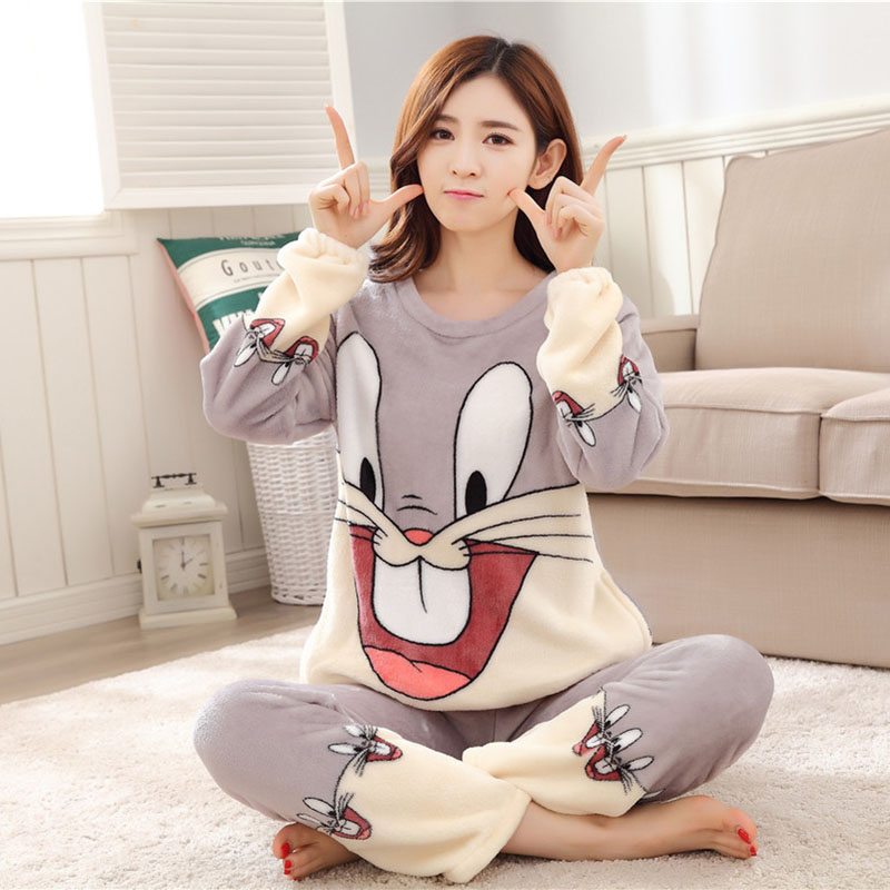 Women Pajamas Set For Autumn cute cartoon pink Women Clothes Sleepwear Nightgown For Women Long Sleeve And Pants Hot Sale pijama 49