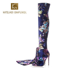KATELVADI 2020 Sexy Party Boots Fashion Stretch Fabric Shoes Women Over the Knee Heels Embroidery Winter 12.5CM High K-582