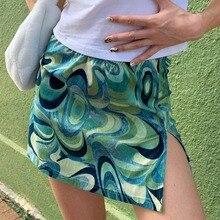 Retro Paisley Print Y2K Mini Skirts Women Sexy Cute Straight Split Green Skirt Korean Harajuku Summer Cute Outfits 2021 Dropship