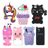 Funda de goma con dibujos animados para iPhone, funda trasera de silicona suave con diseño de gato unicornio y oso 3D para iPhone 7 6 6S Plus X XS 8 7 6S 5S SE