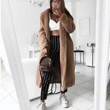 Осеннее зимнее женское пальто повседневное Свободное длинное плюшевое пальто женское винтажное размера плюс толстые куртки из искусственного меха плюшевое пальто