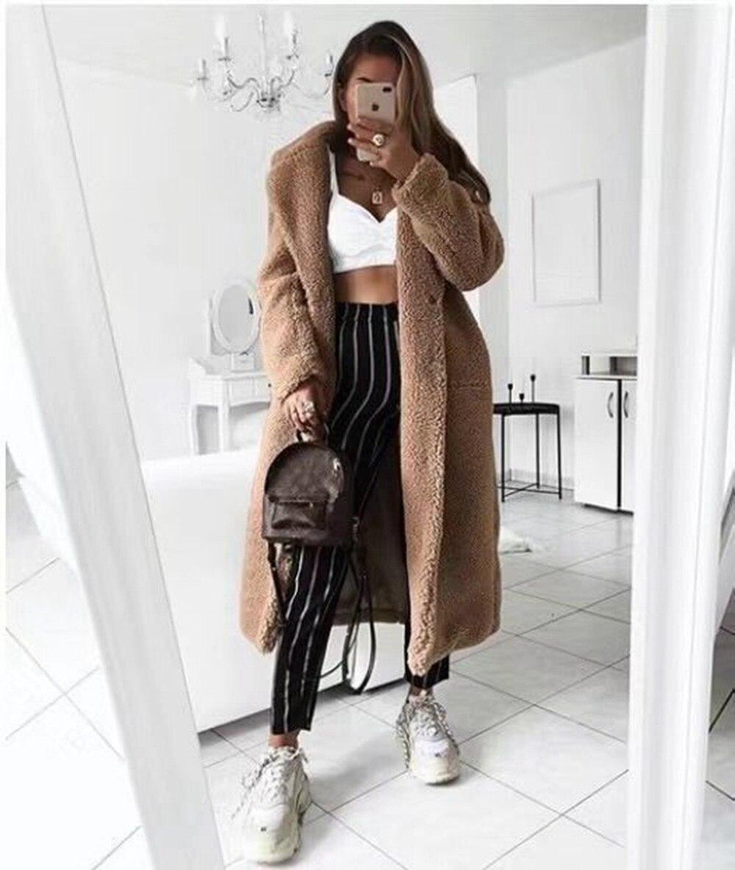 Autumn Winter Coat Women 2019 Casual Loose Long Teddy Coat Female Vintage Plus Size Thick Faux Fur Jackets Plush Overcoat