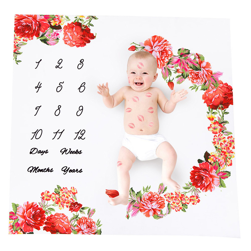 Baby Blanket Newborn Swaddle Stroller Bedding Wrap Photo Background Monthly Growth Kids Growth Chart Wall 12Colors