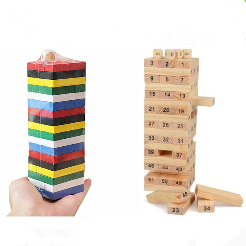 54Pcs/set Wooden Digital Building Block Brain Game Toy Entertainment Interaction Toys