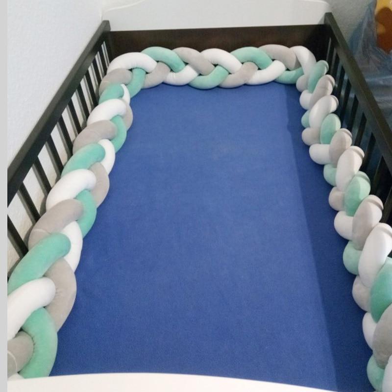Newborn Crib Baby Bumper Bed Braid Knot Pillow Cushion Bumper For Infant Bebe Crib Protector Cot Bumper Room Decor 1M/2M/3M