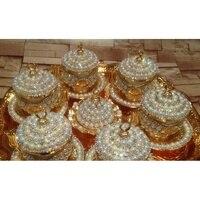 6 person TEE set kristalle und perlen silber oder gold farbe mit großen tablett-in Teegeschirr-Sets aus Heim und Garten bei