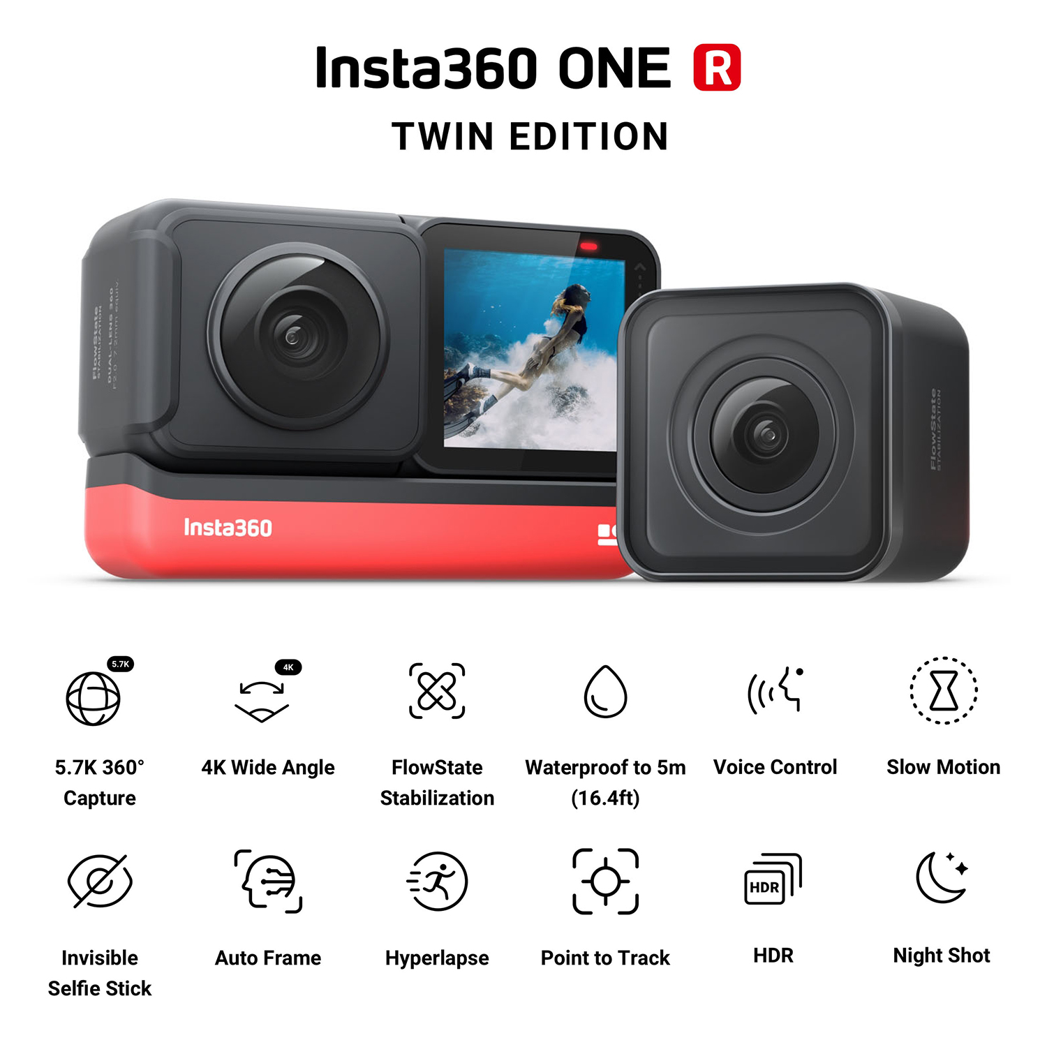Insta360 ONE R Twin Edition Dual Lenses Anti-shake  Sports Action Camera (5.7K 360° Panorama Lens + 4K Wide Angle Lens) 5M 1
