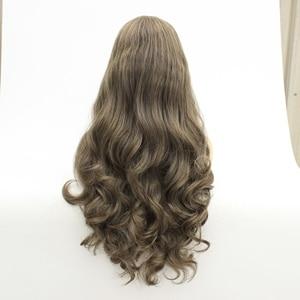 Image 4 - Mrwig parte do meio peruca dianteira sintética do laço glueless 1b #2 # longo corpo ondulado fibra resistente ao calor para a senhora mulher