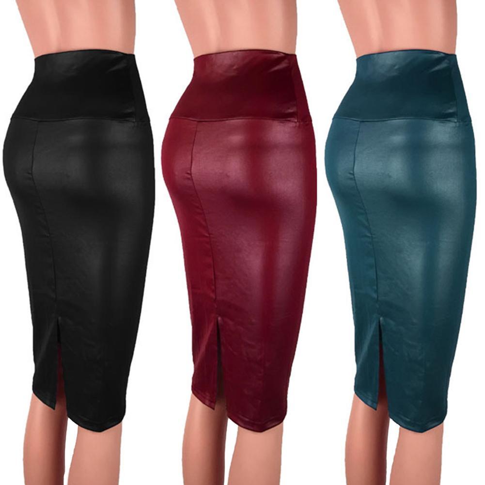 Bodycon Skirt Fashion Sexy Women High Waist Split Faux Leather Knee Length Pencil Skirt For Female Pencil Skirt Autumn