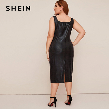 SHEIN Plus Size Black Crocodile Faux Leather Fitted Dress Women 2020 Summer Sleeveless Plus Elegant Tank Long Dresses 1
