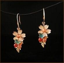 Cloisonne Enamel flower Drop Earrings Color jade Dangle 925 Silver Accessories Eardrop Ear Ornaments Chinese Ethnic Clips