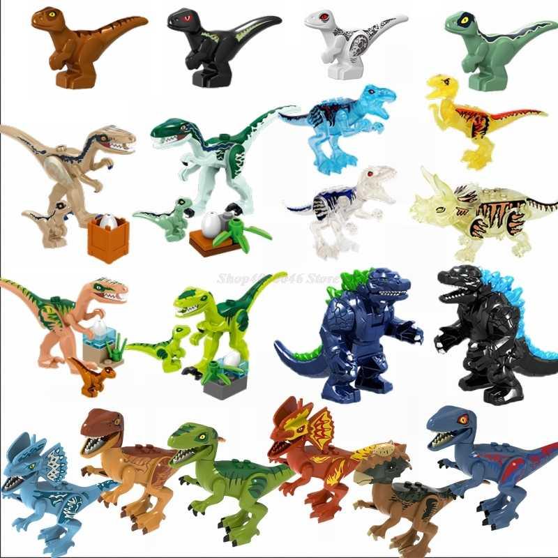 Legoing Jurassic World Dinosaur Park Figures Kids Toys Baby Raptor Rex Triceratops Monster Blocks Jurassic Dinosaur Legoings Set