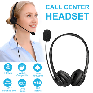 Call Center Wired Headset With Microphone Telephone Operator Headphone Noise Canceling for Computer Phones Desktop Boxes
