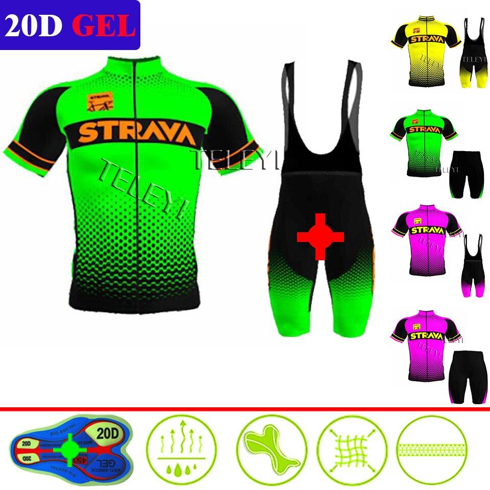 2020 STRAVA Cycling Jersey Set Men's Style Short Sleeves Cycling Clothing Sportswear Outdoor Mtb Ropa Ciclismo Bike Cycling Kits