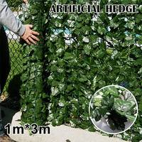 1*3m Artificial Ivy Leaf Fence Green Garden Yard Privacy Screen Hedge Plants Sweet potato leaves