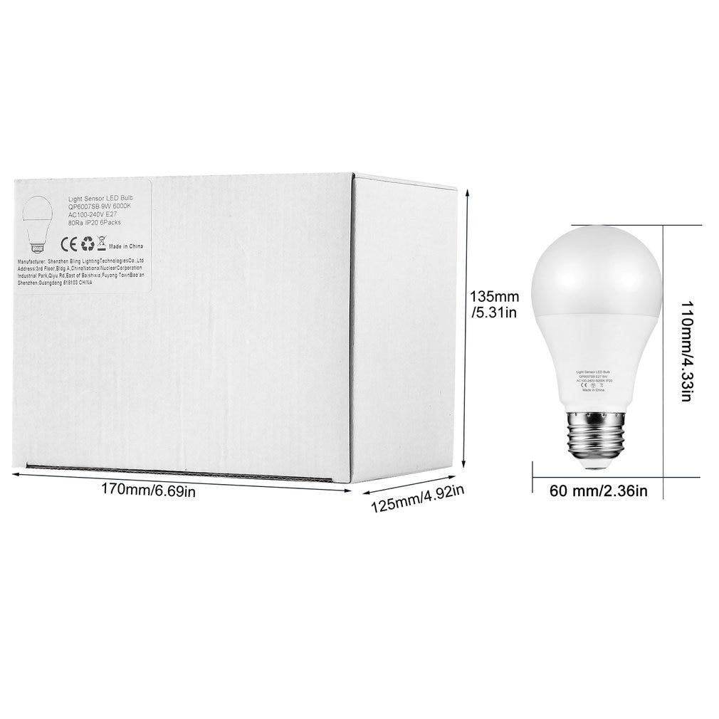 9 w e27 sensor de luz inteligente lâmpada led 6000 k com interruptor automático sensor de detecção de fotosensor embutido para interior ao ar livre - 6