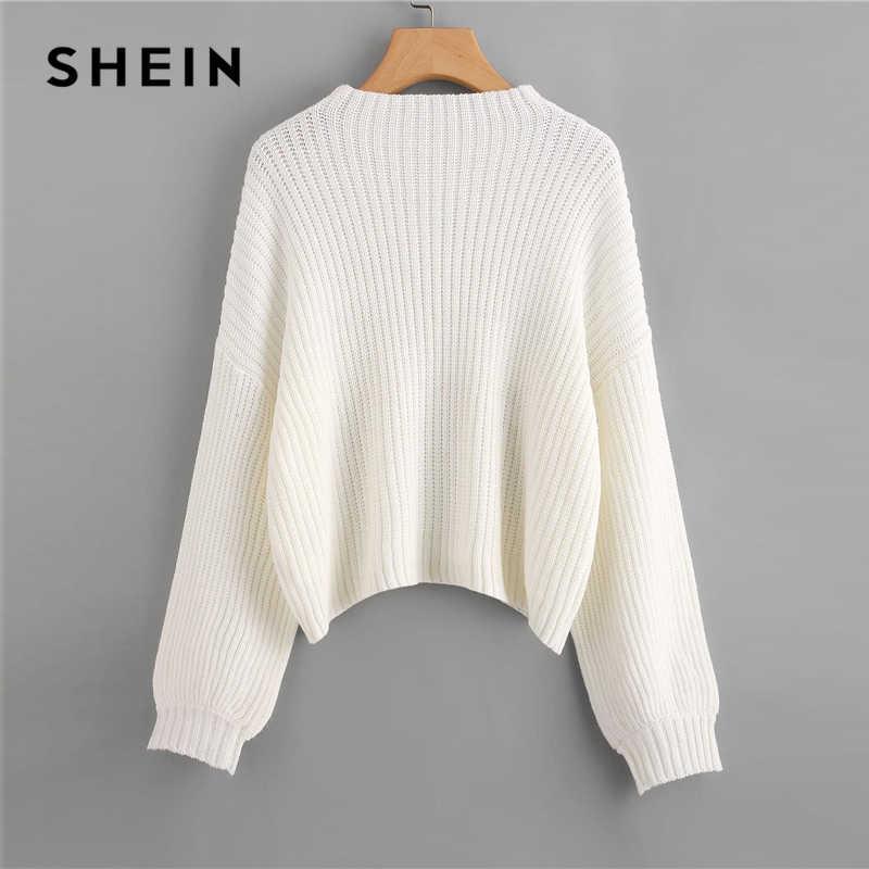 SHEIN blanco gota hombro linterna manga oversize Jumper sólido suéter mujeres invierno cuello alto Casual suéteres