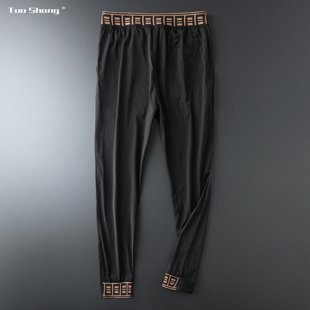 2019 Mens Luxury Jogger Pants New Brand Drawstring Sports Pant Men Stitching Thin Section Ribbon Personality Casual Trousers 15