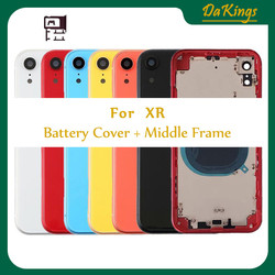 XR For iPhone XR Back housing Battery Door Housing Metal Middle Frame with Glass Chassis Parts Assembly rear housing replacement