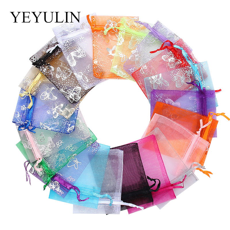 50pcs 7x9 9x12CM Organza Bags Jewelry Packaging Bags Wedding Party Decoration Drawable Bags Gift Pouches 20 Colors