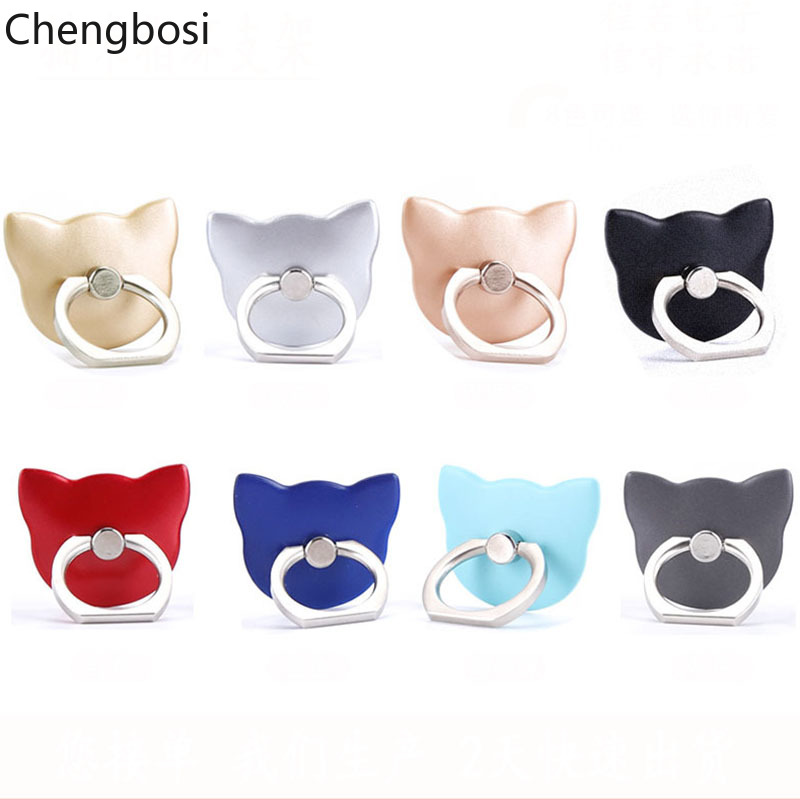 Cat Finger Ring Holder Mini Cute Plastic PC Phone Holder For Iphone X XS MAX Sumsung Xiaomi 360 Rotation Finger Ring Holder