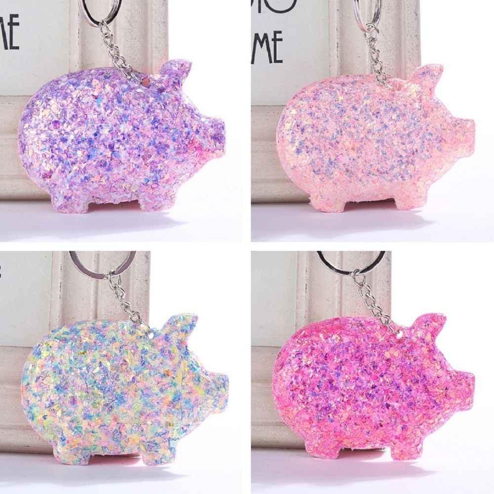 Bonito chaveiro de porco chaveiro glitter pompom lantejoulas carro chaveiro presentes para amantes das mulheres mujer acessórios do saco do carro chaveiro
