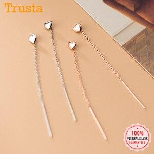Trustdavis Genuine 925 Sterling Silver Smooth Surface Heart Linked 6.5cm Ear Line Earring For Women Silver 925 Jewelry DA1124