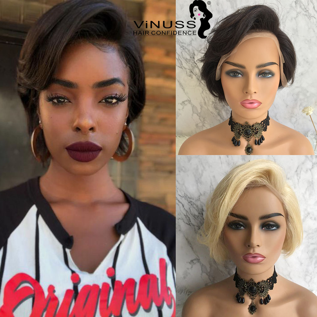 Short Pixie Cut Lace Front Human Hair Wigs For Women Pre Plucked Brazilian Remy Glueless Lace Front Wigs Bleached Knots Vinuss