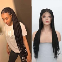 AIMEYA 13×6 Deep Part Synthetic Braided Lace Front Wigs for Black Women Long Box Micro Braids Half Hand Tied Lace Hair Wig
