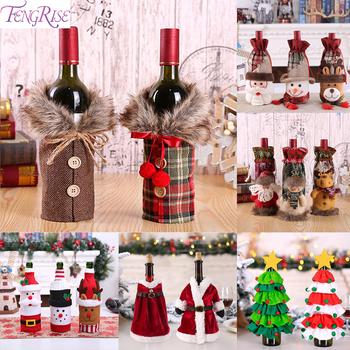 Świąteczny pokrowiec na butelkę wina wystrój świąteczny do domu 2020 Natal Noel świąteczny wystrój stołu świąteczny prezent szczęśliwego nowego roku 2021 tanie i dobre opinie FENGRISE CN (pochodzenie) W1427 Bez pudełka Zinc Alloy Christmas Wine Maker ron ring diameter 2 5-3cm Wine Charms Christmas Decorations For Home
