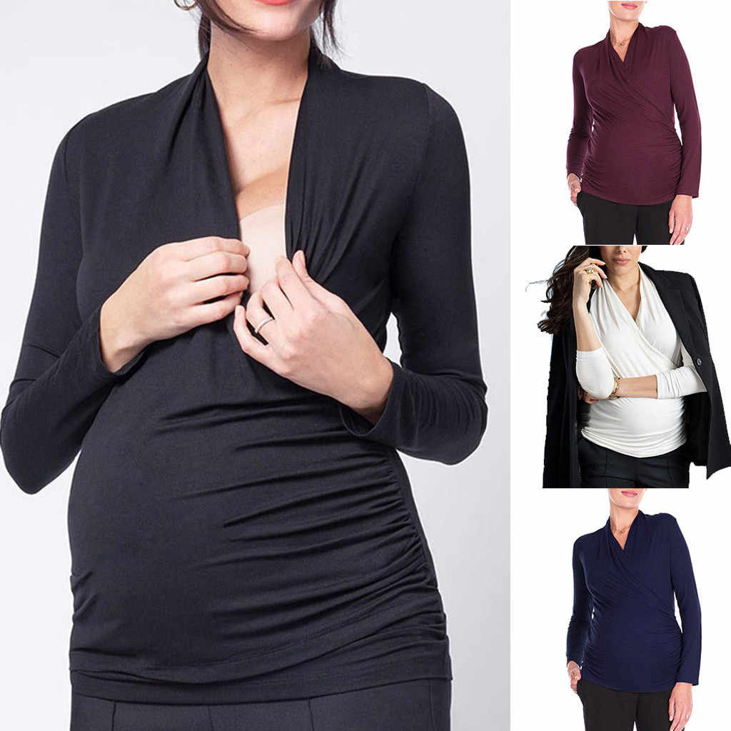 Maternity clothes 2019 Women Clothes Pregnant Nusring Maternity V-Neck Long Sleeve Ruffles Solid Blouse Tops Drop shipping #1989