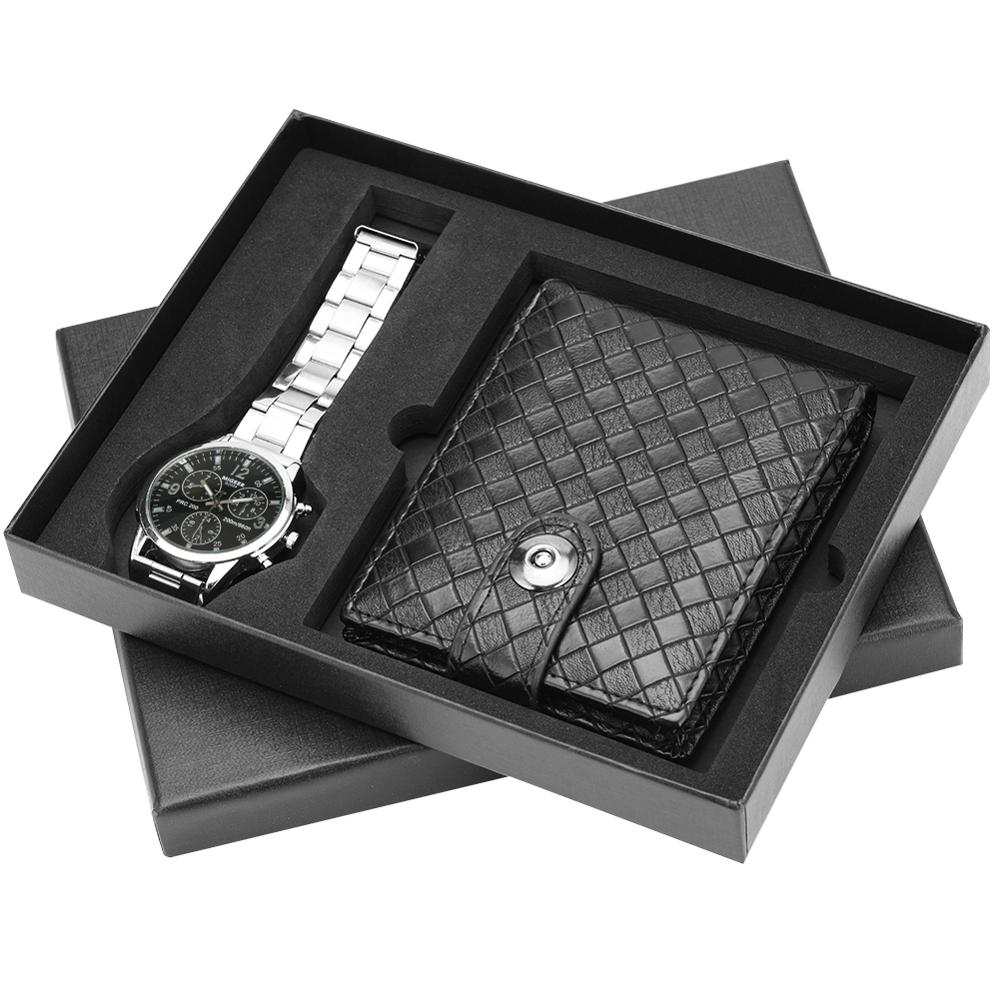 Exquisite Gift Set for Men Black Dial with Clear Scales Watches Business Quartz Analog