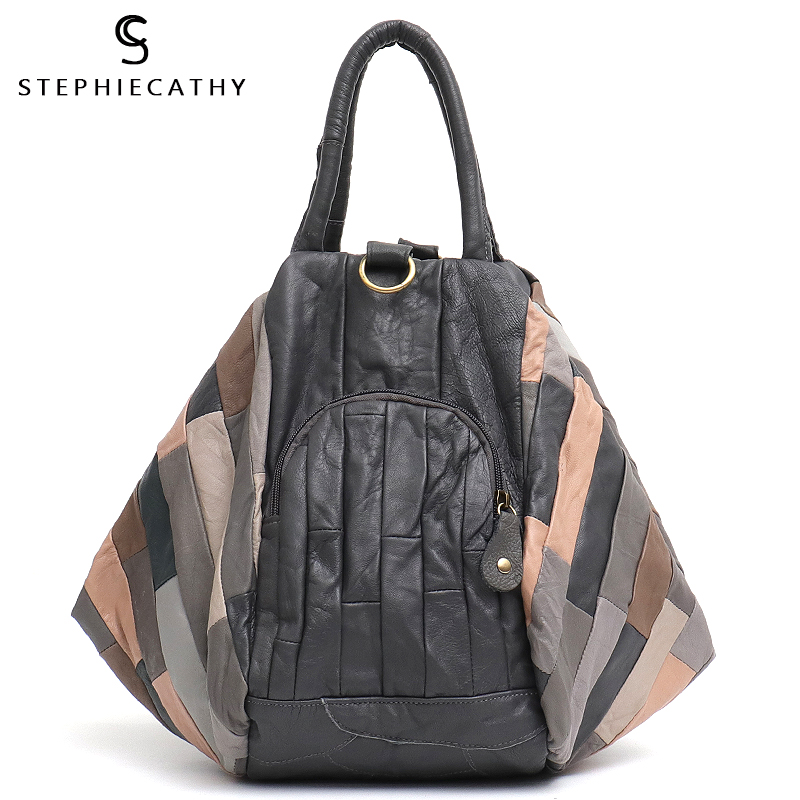 SC Brand Design Sheepskin Women Handbag Patchwork Hot Style Ladies Real Leather Bucket Large Shoulder Bag Femal Casual Crossbody