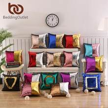 BeddingOutlet DIY Mermaid Sequin Cushion Cover Magical Throw Pillowcase 40x40cm Color Changing Reversible Pillow Case Drop Ship(China)