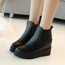 Womens winter fashion 2019 boots new warm flat-bottomed increase height short Chelsea high Ankle Yasilaiya