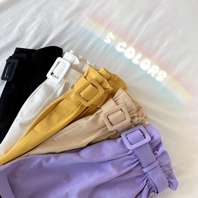 Elegant Cotton Shorts womens 2021 Summer New Wild Leisure Bead Bud Wide Leg shorts High Waist Slimming Shorts with a Belt 4