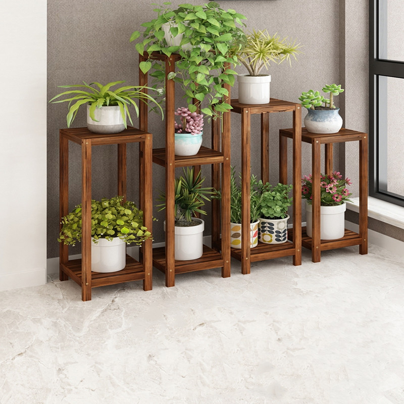 Shelf Living Room Indoor Solid WoodFlowerpot Shelves Simplicity Multi-storey Fish Tank Hanging Basket Botany Frame