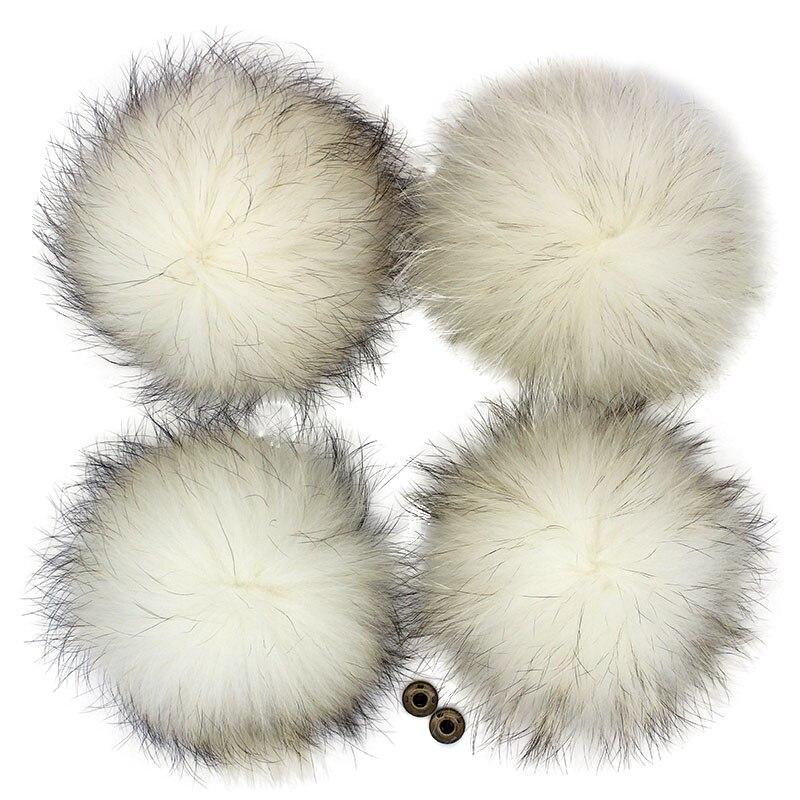 15cm marfim cor bege pom pom com botões de pressão fora pompons brancos para crochê chapéus de malha bonés fofo inverno pompons beanies