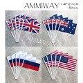 AMMIWAY 14x21 см 5 шт., небольшой волнистый флаг Соединенного Королевства Британии, австралийский русский Американский ручной флаг