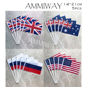 AMMIWAY 14x21cm 5pcs United Kingdom Britain Small Wave Flag Australia Russian American United States of America USA Hand Flag
