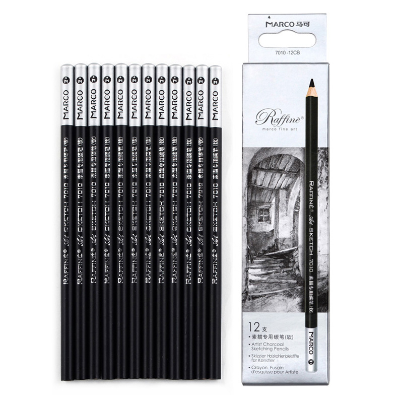 Marco 7010 Sketch and Drawing Pencil Set Soft Middle Hard Pencil School Art Wooden Writing Painting Pencil Stationery Supply