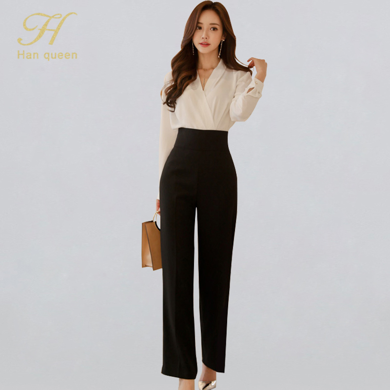 H Han Queen OL Elegant Office Wear 2 Pieces Set Women V-neck White Shirt And High Waist Wide Leg Long Pants Work Business Suits