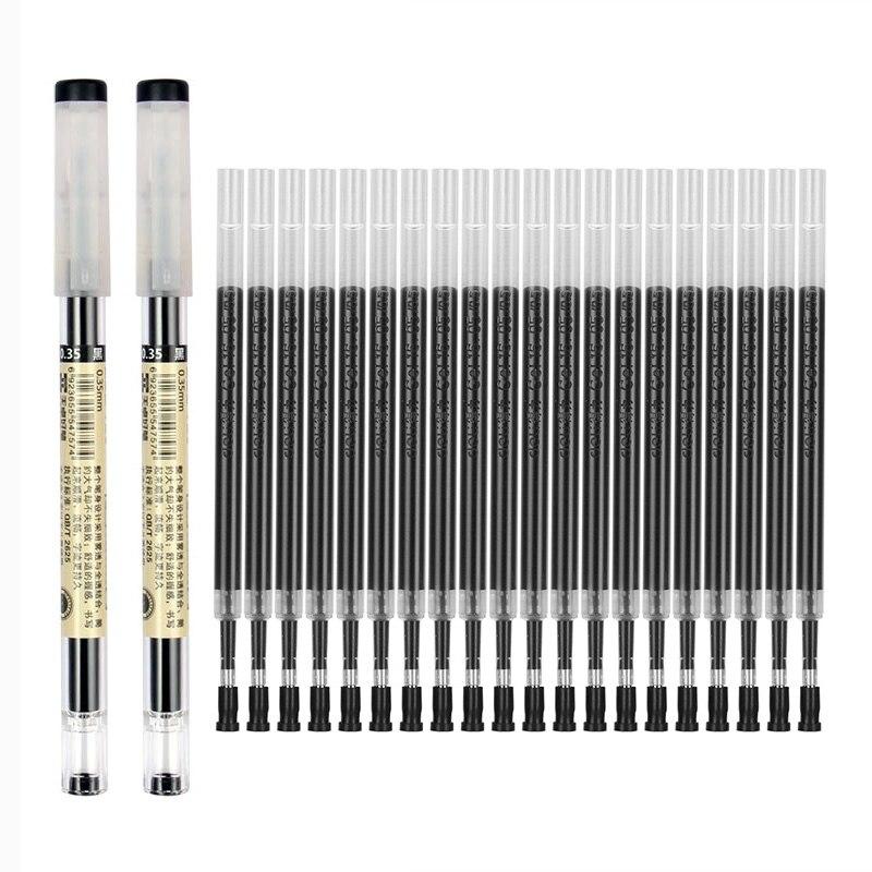 11 шт./лот 0,35 мм ультратонкая гелевая ручка черного/синего/красного цвета стержни для заправки чернил гелевые ручки для школы, офиса, экзамен...