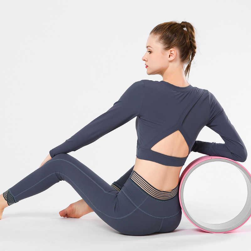 Camisetas cortas de Yoga y gimnasio para mujer, camisetas de entrenamiento de manga larga, camisetas deportivas para correr, camisetas de entrenamiento para Yoga, ropa deportiva