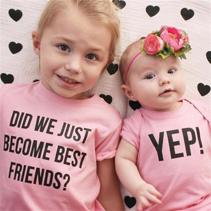 Cute Kid Girl Big Little Sister Flowers T-Shirt Tops Blouse Baby Romper Outfit