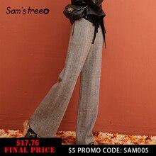 SAM'S TREE, шеврон, Ретро стиль, корейский стиль, вязанные, для женщин, широкие, брюки, зима, на шнурке, эластичная талия, повседневные, женские брюки