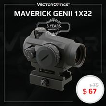 Vector Optics Maverick GenII 1x22 Red Dot Scope Sight Hunting Tactical Uncapped Turret QD Mount For Real Firearms .308 Airsoft