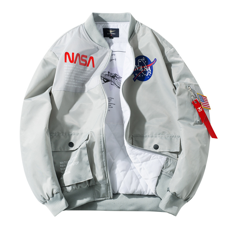 2019 Winter Amazon New Style Men's Cotton-padded Clothes NASA Joint Pilot Stand-Collar Jacket Plus-sized COUPLE'S Workwear